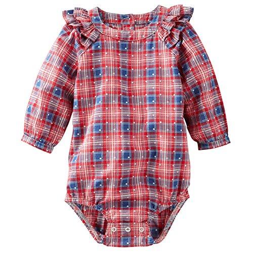 OshKosh BGosh Baby Girls Plaid Poplin Ruffle Bodysuit 18M