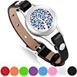 Aromatherapy Essential Oil Diffuser Bracelet with Gift Box, 316L Stainless Steel Locket Leather Band Bracelet with 8 Color Refill Cotton Pads, Tree (Black)