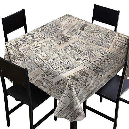 Anshesix Dustproof Tablecloth Old Newspaper Nostalgic Aged Pages Soft and Smooth Surface W70 xL70 Washable Polyester - Great for Buffet Table, Parties, Holiday Dinner, Wedding & More