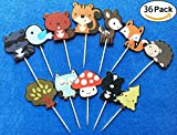 #2: 36-pack Cute Woodland Creatures Cupcake Toppers Picks, Woodland Animal Friends Cake Toppers, Kids Woodland Theme Baby Shower Birthday Party Cake Decoration Supplies.