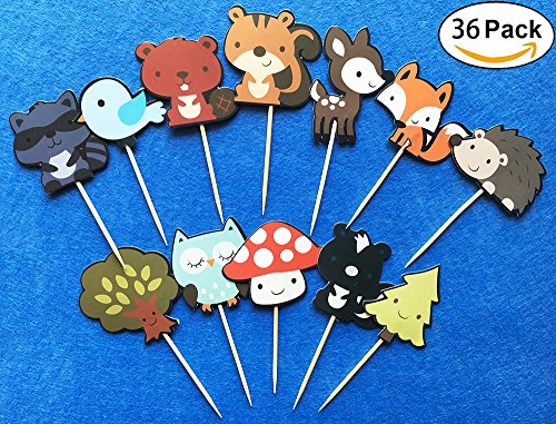 36-pack Cute Woodland Creatures Cupcake Toppers Picks, Woodland Animal Friends Cake Toppers, Kids Woodland Theme Baby Shower Birthday Party Cake Decoration Supplies. (Animals Topper)