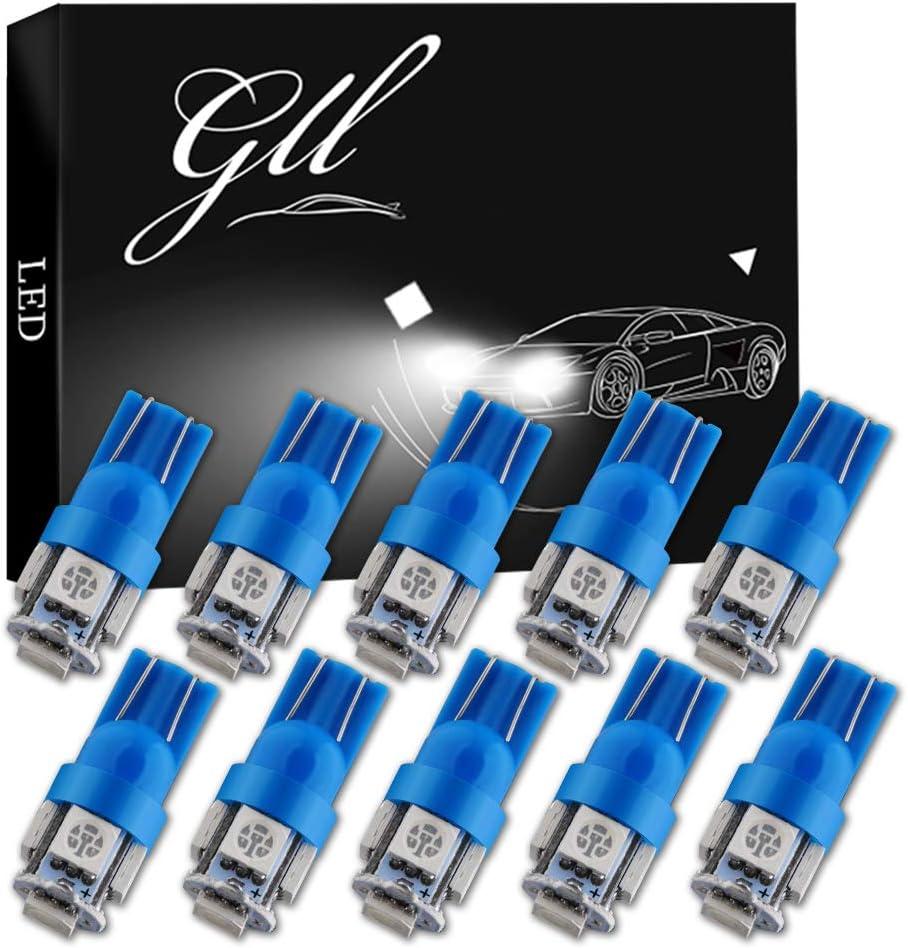 Grandview 10pcs 24V Azul T10 501 Bombillas LED W5W 194 168 2825 T10 Lampe con 5-5050-SMD para el Interior del Automóvil Mapa de Cúpula Puerta Tablero Tronco Cortesía Placas de Matrícula Luces