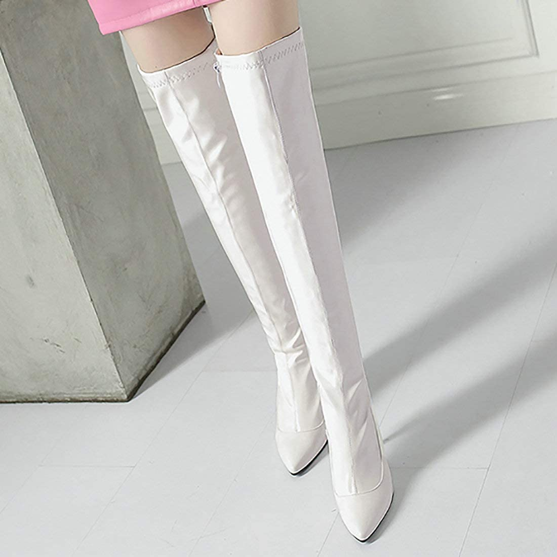 MAVMAX Womens Side Zipper Stiletto Heel Pointed Toe Thigh High Boots