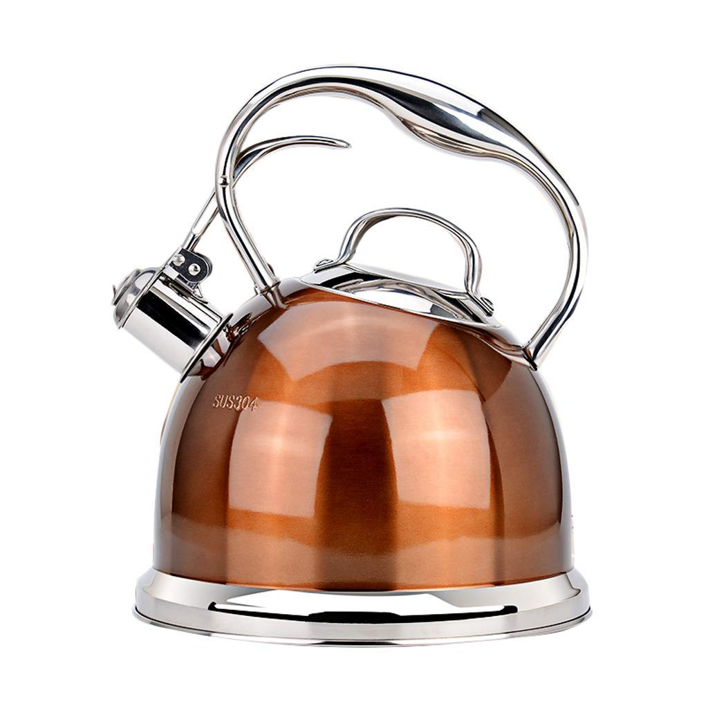 Chen Kettle Whistle Kettle Stainless Steel Flat Induction Cooker Gas Stove Gas Vintage Big Single Pot Small Teapot Household 3L (Color : A)