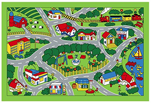 Amazoncom City Map Children Area Rug X Toys Games - Kids road map