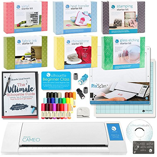 [Silhouette Cameo 2 Mega Bundle with 7 Starter Kits, Ultimate Silhouette Guide Book, 24pc Sketch Pens, Fabric Blade, Pixscan, and More] (3