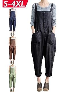 2ba2e06425 Lncropo Women s Baggy Wide Leg Overalls Cotton Linen Jumpsuit Harem Pants  Casual Rompers