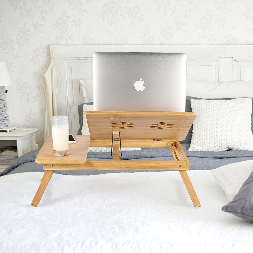 Ej. Life Bamboo Laptop Bed Desk Tray Folding Bed Desk Table Breakfast Serving Bed Tray with Drawer by Ej. Life
