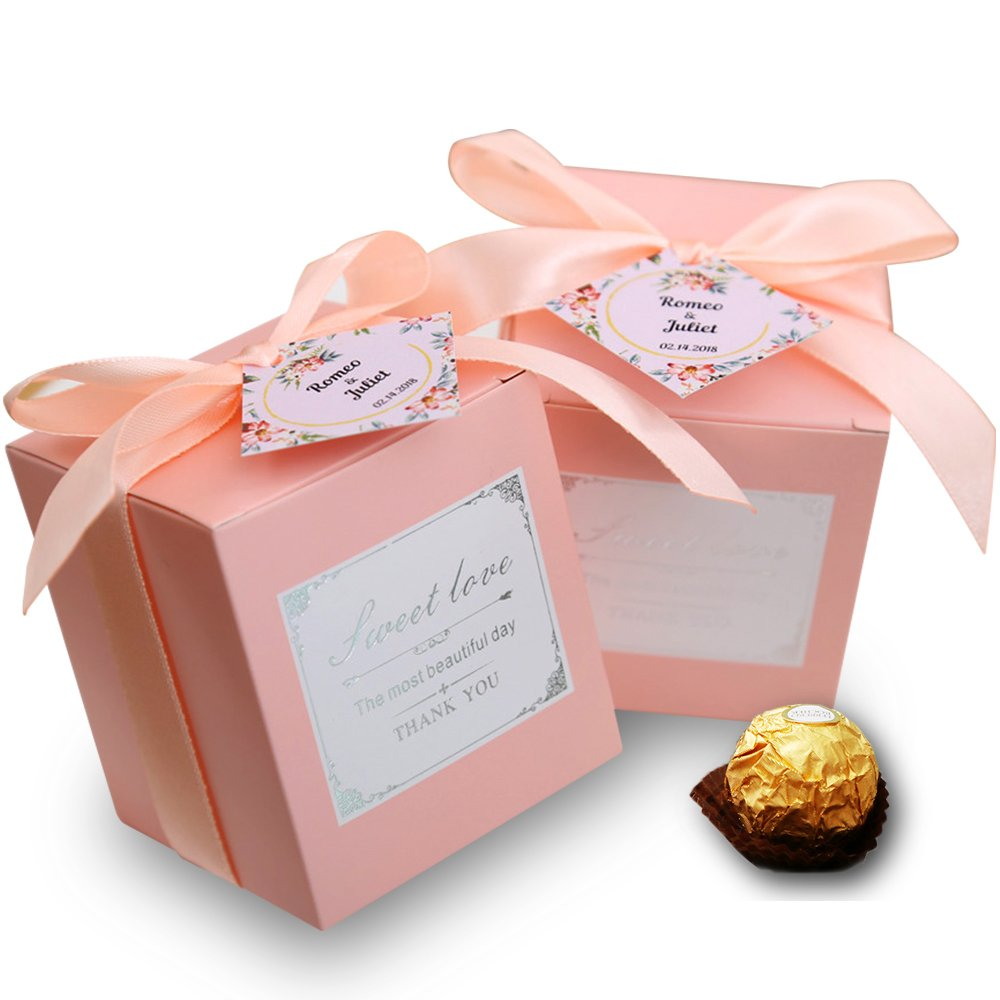 Doris Home 50 Pcs Birthday Wedding Party Favor Wedding Gift Boxes Personalized Names Candy Gift Boxes Bridal Shower Party Paper Gift Box Pink Name