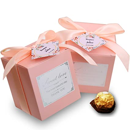doris home 50 pcs birthday wedding party favor wedding gift boxes personalized names candy gift