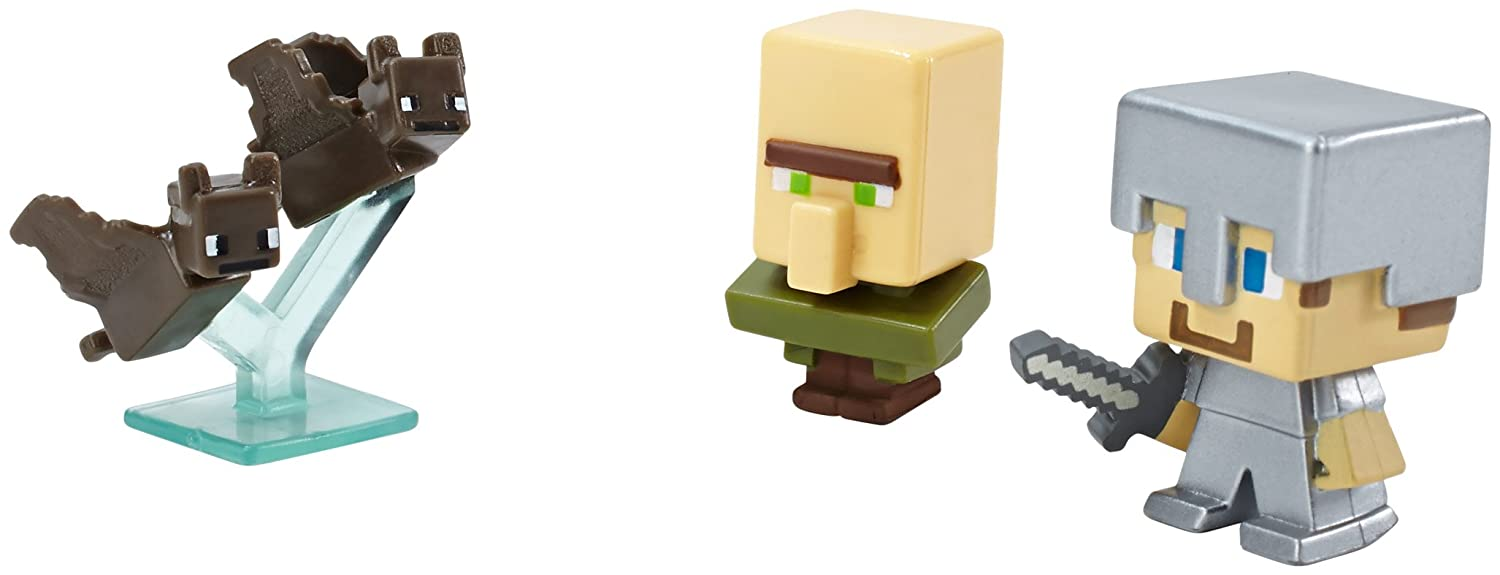 Minecraft Collectible Figures Bats Series 2 Steve with Iron Armor and Villager 3-Pack