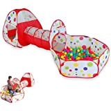 Play House Tent Tunnel Indoor Outdoor Play Tent with Tunnel Kids Toddler Pop Up Ball Play Pit Pool with Storage Bag 3 pcs/set(balls not included) by YHANONAL