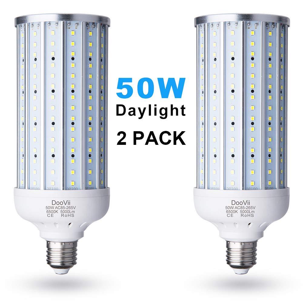 2-Pack DooVii 50 Watt (330 Watt Equivalent) LED Corn Bulb,5000 Lumen 6500K,Cool Daylight LED Street & Area Light,E26/E27 Medium Base,for Garage Warehouse High Bay Barn Backyard and More,Super Bright