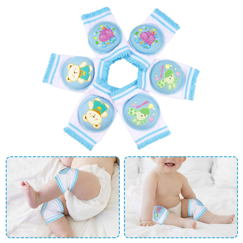 Baby Knee Pads by Accmor, Breathable Anti-Slip Crawling Knee Pads for Baby Boys Girls, Cute Unisex Knee Protector Toddler Knee Pads Foam Pad Cushion for Crawling Walking (3 Pairs)