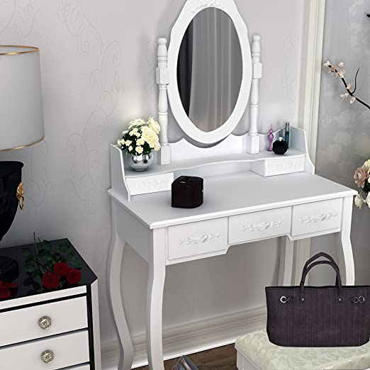Surun Mesa de tocador Espejo y sillas, Escritorio de Maquillaje de ...