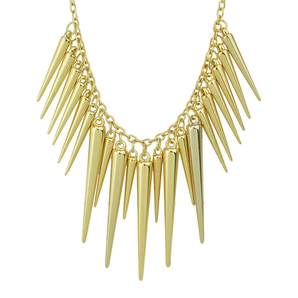 Feelontop@ Hot Sale Individual Punk Style Alloy Exaggerate Long Spike Necklace with Jewelry Pouch FJ-NC-7270-Silver