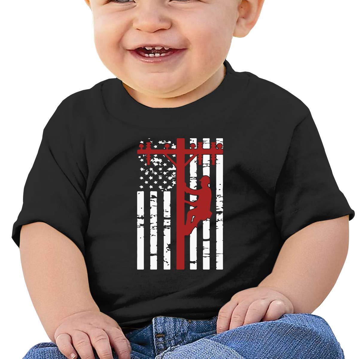 ZUGFGF-S3 American Lineman Flag Baby Boy Girl Newborn Short Sleeve T Shirts 6-24 Month Cotton Tops