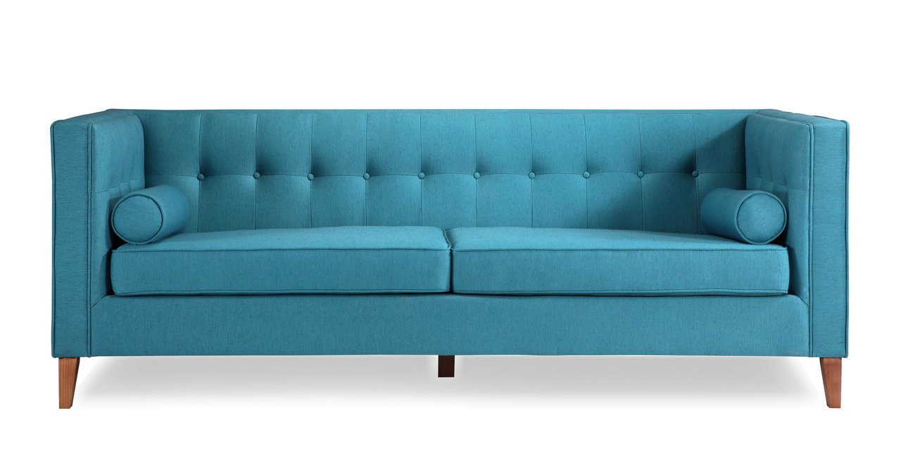 Kardiel Jefferson Mid-century Modern Sofa, Urban Surf Twill/Wood Legs