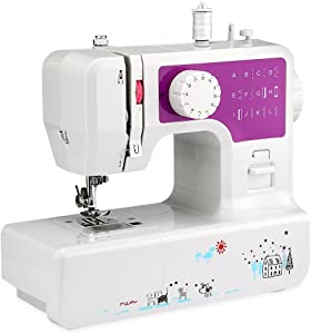AODD Sewing Machine, Household Portable Electric Sewing Machine Portable Mini with 12 Different Stitches, Fabric Sewing, DIY, Easy Operation, Durable, for Fabric, Clothing, Home Travel (Purple)