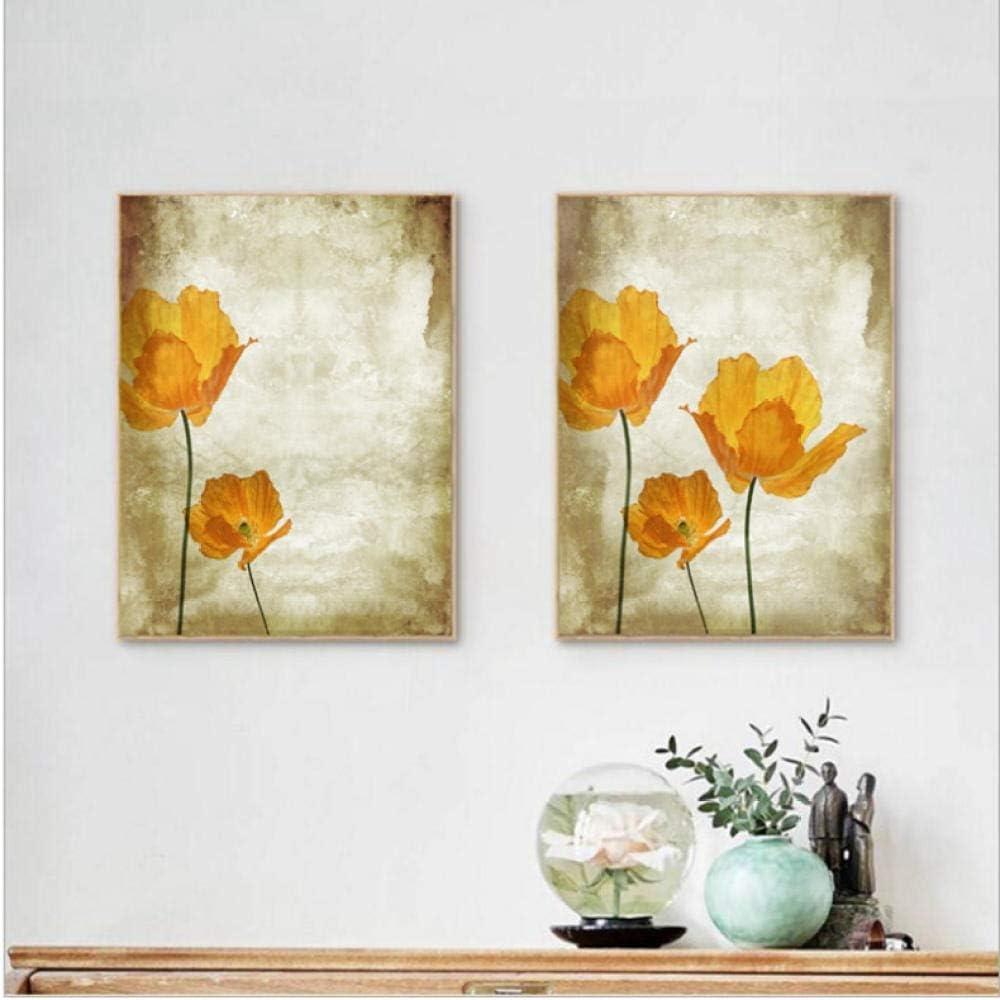 ARTTONIT Flores Pintura al óleo Imprime Lienzo Retro Pintura, Vintage Naranja Flor Pared Cuadros decoración del hogar 40x60cmx2 sin Marco