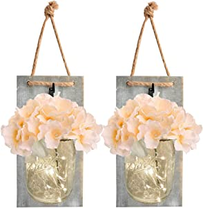 Mason Jar Sconce Home Decor,Rustic Wall Sconces with 6-Hour Timer LED Fairy Lights and Silk Hydrangea Flowers,Wall Decoration for Farmhouse Home Kitchen,Set of 2