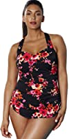 Aquabelle Women's Chlorine Resistant Poppies Sarong Front Swimsuit