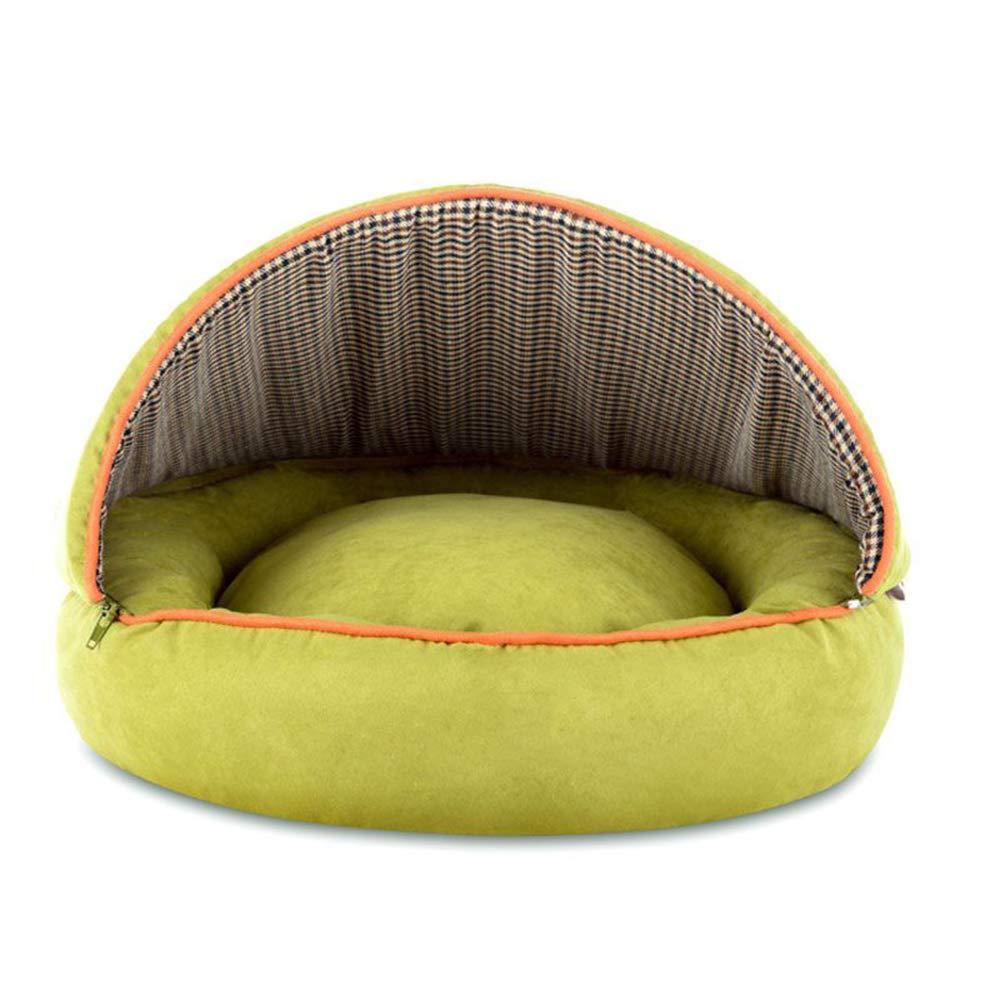 Green 60CM Green 60CM Pet nest mattress PU suede PP cotton soft kitten puppy small animal (color   GREEN, Size   60CM)