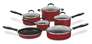 Cuisinart 55-11R Advantage Nonstick 11-Piece Cookware Set, Red