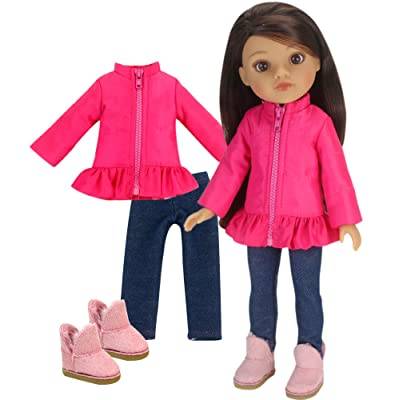 14 inch doll clothes Outfit by Sophia's | Hot Pink Puffy Coat, Jeggings & Doll Boots Fits American Girl Wellie Wishers Dolls | 14.5 In Doll 3 Piece Set