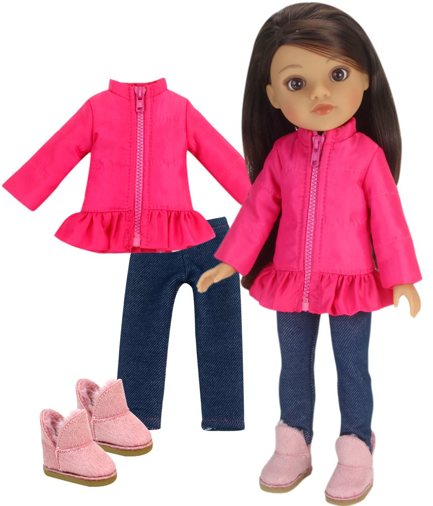 14 inch doll clothes Outfit by Sophia's | Hot Pink Puffy Coat, Jeggings & Doll Boots Fits American Girl Wellie Wishers Dolls | 14.5 In Doll 3 Piece Set Sophia's