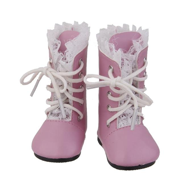 Amazon.es: Zapatos Botas Encaje Para Muñeca Muchacha Americana Color Rosa: Juguetes y juegos