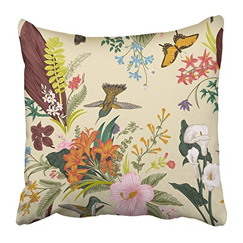 Emvency Throw Pillow Cover Square 20x20 Inches Beige Butterfly Vintage Floral Pattern Exotic Flowers and Birds Botanical Classic Colorful Drawing Polyester Decor Hidden Zipper Print On ()