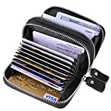 Best RFID Blocking Wallet for Men and Women, Credit Card Wallet for Travel and Work, for Business Cards, and Driver License, Genuine Leather Accordion Zipper Wallet for Bank Cards and Money Black02