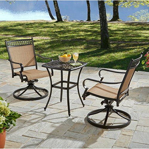 Country Oval Pedestal (Rust Proof Aluminum Frame Weather Resistant 3-Piece Bistro Set)