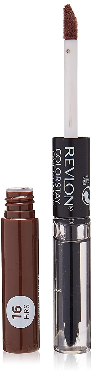Revlon Colorstay overtime lipcolor, Longwearing Liquid Lipstick with clear lip Gloss, with Vitamin E, In Brown, 570 No Coffee Break, 0.8 Oz