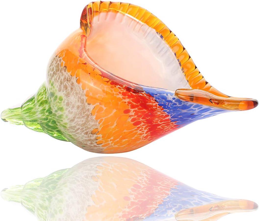 Hophen Rainbow Murano Art Glass Sea Shell Hand Blown Glass Conch Figurine Paperweight Sculpture Home Decoration Wedding Ornament