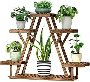 RomanticDesign Wooden 6 Tier Plant Stand Rack, Multiple Flower Pot Holder Shelf Indoor Outdoor Planter Display Shelving Unit for Patio Garden Corner Living Room -D3