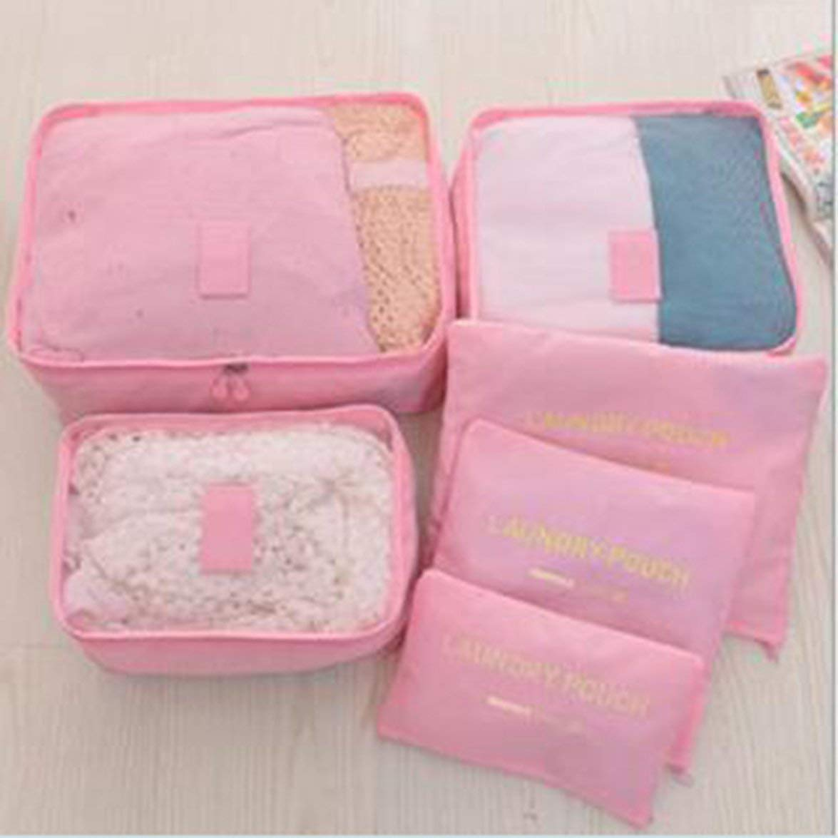 Romirofs 6 PCS Travel Storage Bag Set for Clothes Tidy Organizer Wardrobe Suitcase Pouch Travel Organizer Bag Case Packing Cube Bag