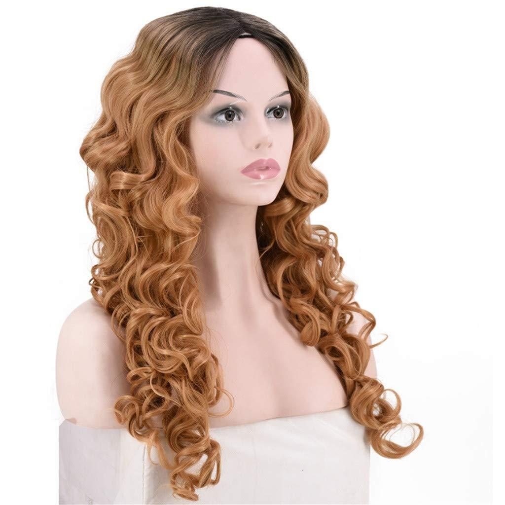 Per/ücke Wig Damen Langhaar Schwarz Black Curly Brazilian Synthetische Cosplay Lang Wavy Frauen Hair 80Er 70Er 60Er 50Er