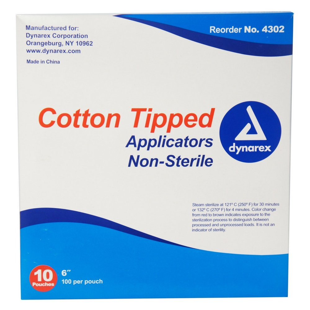 Dynarex Cotton Tipped Applicators 6 inch 1000 ea (Pack of 7) by Dynarex