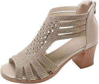 Lady Escarpins,Cristal Femmes Creux Peep Toe Sandales compensées Chaussures à Talons Hauts,Sandales