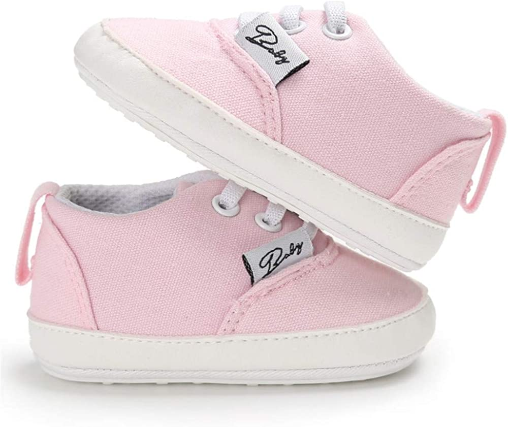 Meckior Infant Baby Boys Girls Canvas Toddler Sneakers Rubber Anti-Slip First Walkers Candy Shoes