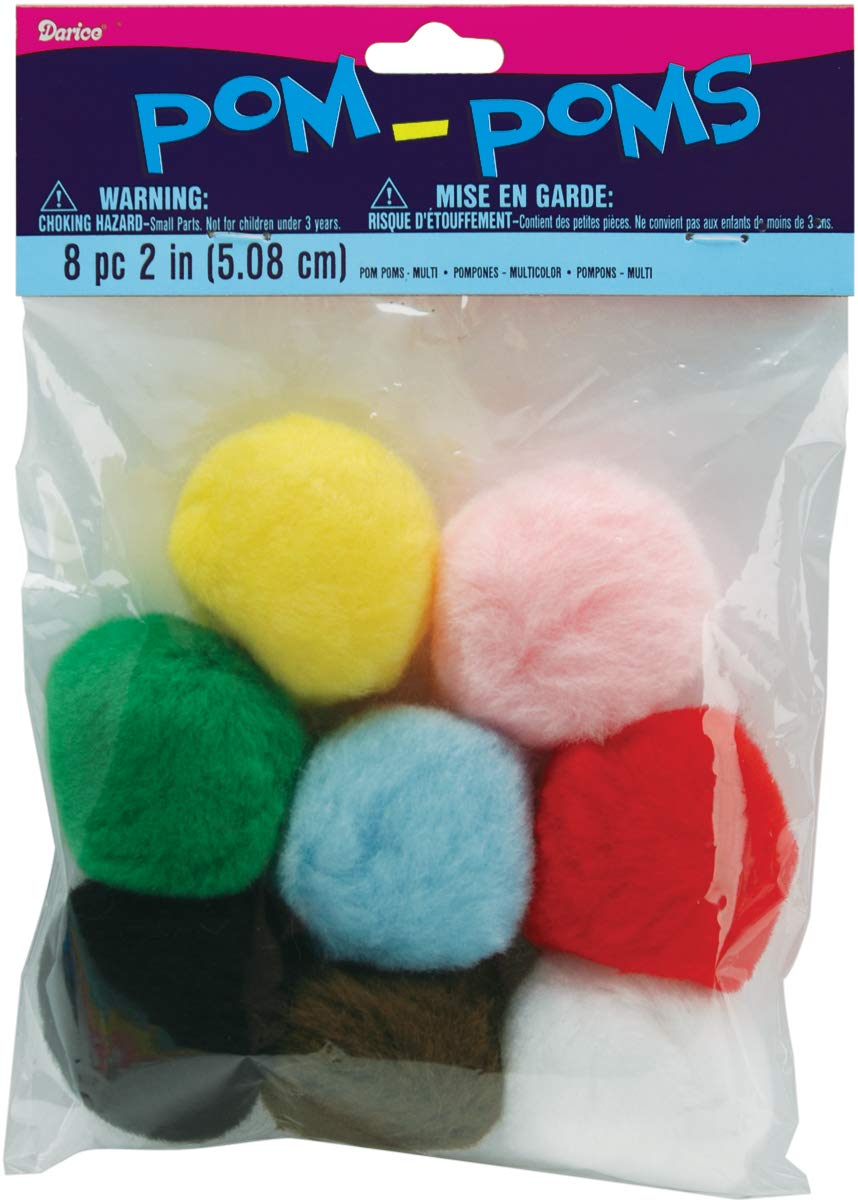 Acrylic Pom Poms Multi 2 Inches (12 Pack)