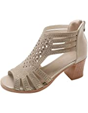 CIELLTE Chaussures Sandales à Talons Femmes à Talons Carrés Sandales Compensées Peep Toe Ete Sandales Compensées pour Femmes …