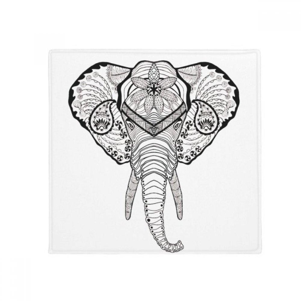 DIYthinker Long Teeth Elephant Animal Portrait Sketch Anti-Slip Floor Pet Mat Square Home Kitchen Door 80Cm Gift