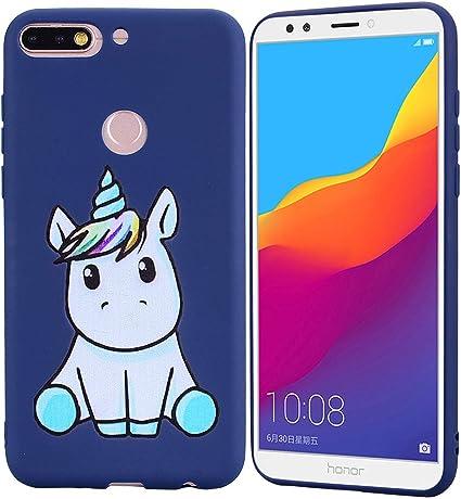 HopMore Coque Huawei Y6 2018 / Honor 7A Silicone Souple Motif Licorne Unicorn Drôle Etui Étui Antichoc Ultra Mince Fine Gel Bumper Slim Case Housse ...