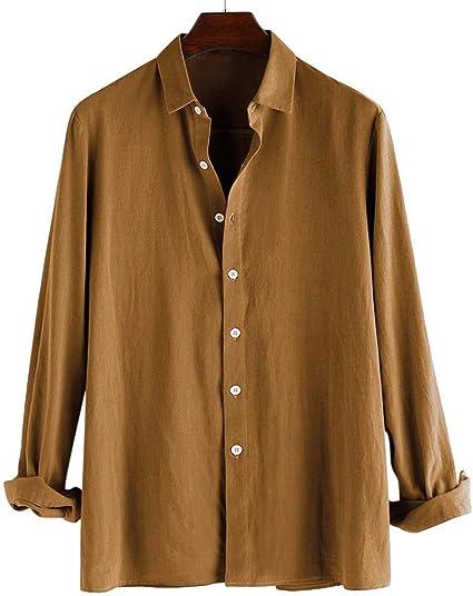 Camisa de manga larga de algodón para hombre, de talla grande ...
