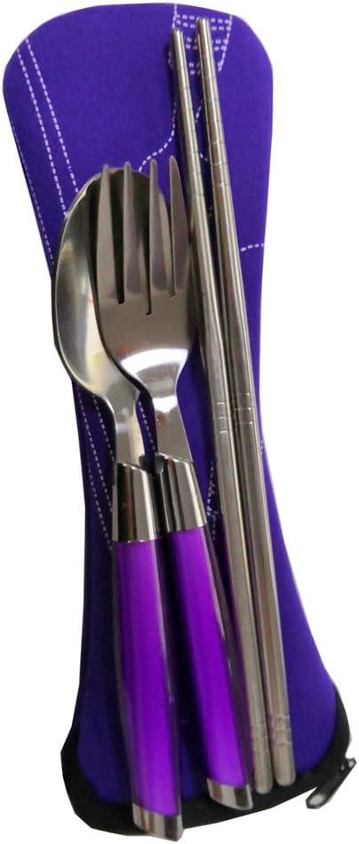 Juego de 3 cucharas de Tenedor de Acero Inoxidable para Viajes Cubiertos de Camping port/átiles con Bolsa Chengsan