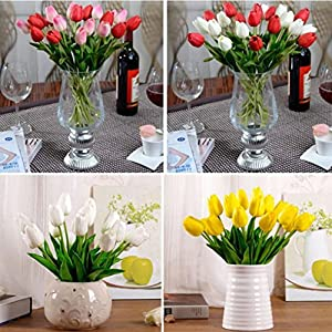 Esharing Artificial Silk Fake Flowers Single Stem PU Touched Tulip Arrangement Bouquet with Glorious Moral for Home Office Wedding Parties,Pack of 10 (blue) 5