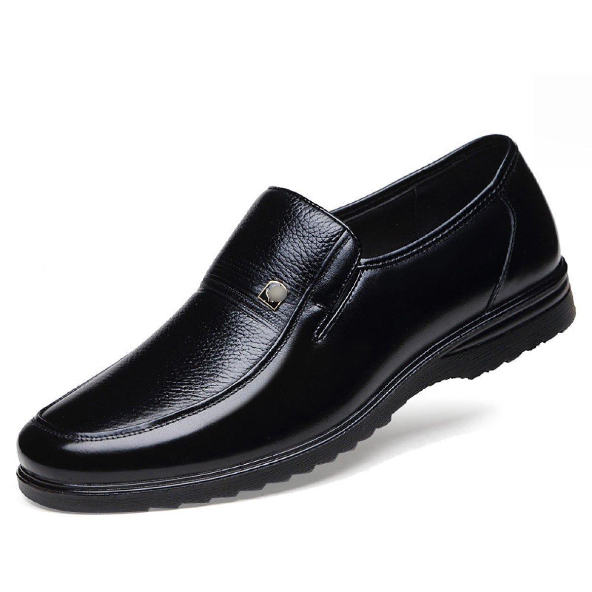 LYZGF Hombre De Mediana Edad De Negocios De Primavera Casual Moda Transpirable Papá Zapatos De Cuero,Black-41 41|Black